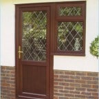 Rosewood uPVC door with leaded bars