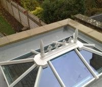 White uPVC lantern rooflight with clear glass and standard finial