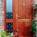 Stained hardwood front door