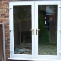 White uPVC patio doors with clear glass