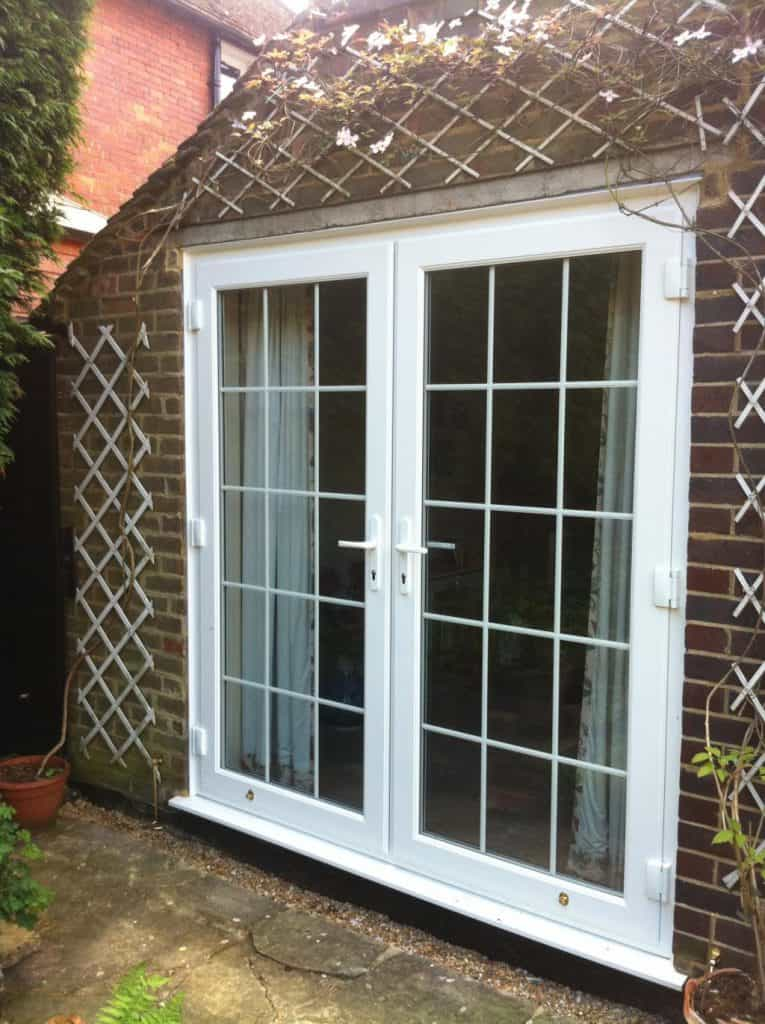 White uPVC French Doors with Georgian Bars