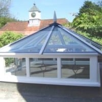 White uPVC lantern rooflight with clear glass