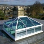 White uPVC lantern rooflight with blue solar control glass
