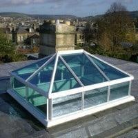 White uPVC lantern rooflight with blue solar control glass