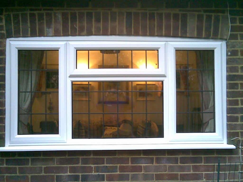 White Upvc Window With 9mm Rectangular Leaded Lights