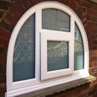 Shaped uPVC window with Satin (sandblasted) glass