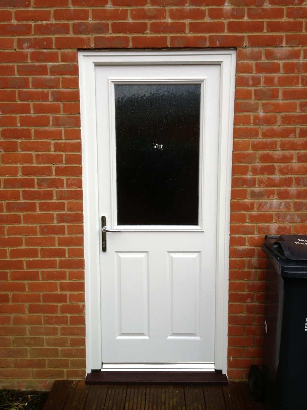 White composite back door dorking glass for Glass back door