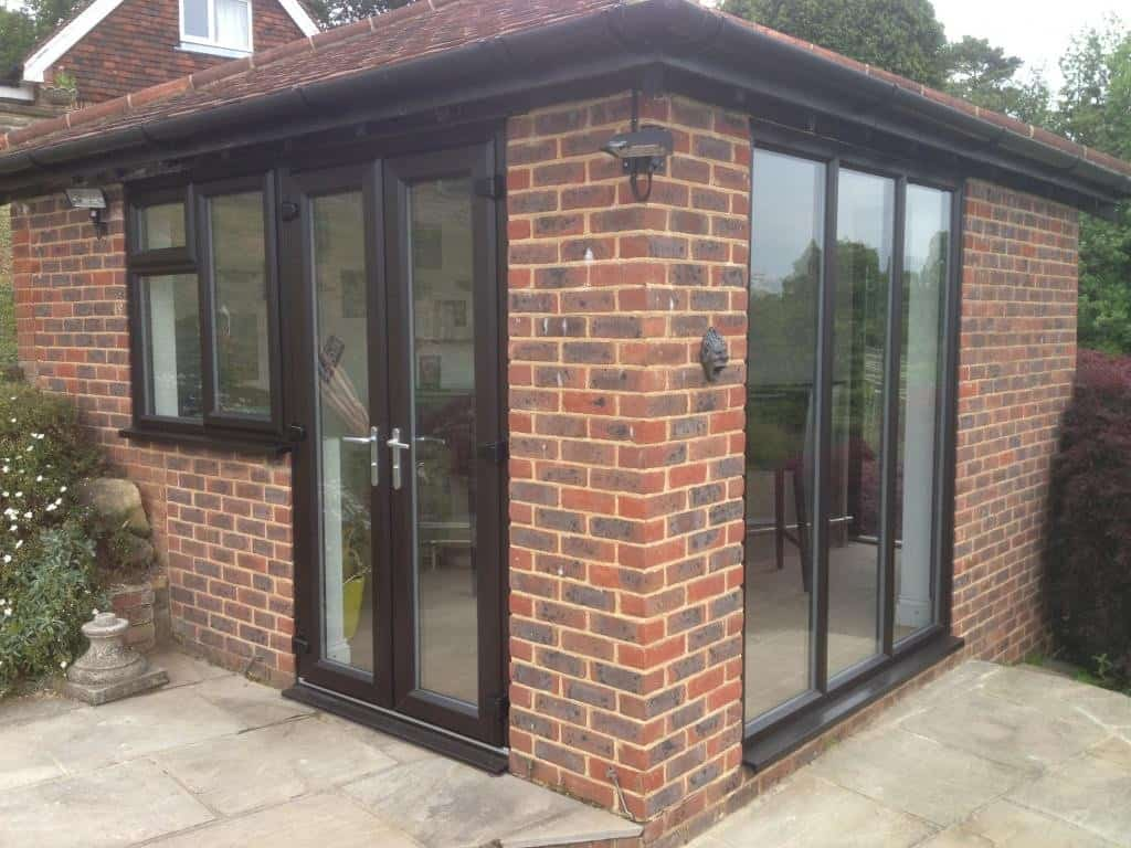 New black brown upvc windows and french doors dorking glass for New windows and doors