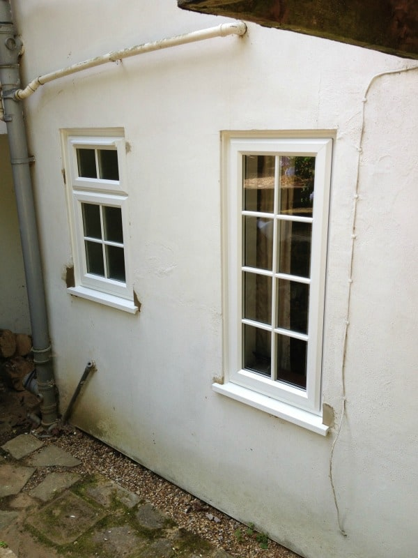 White Liniar uPVC A-rated windows with surface mounted Georgian Bars