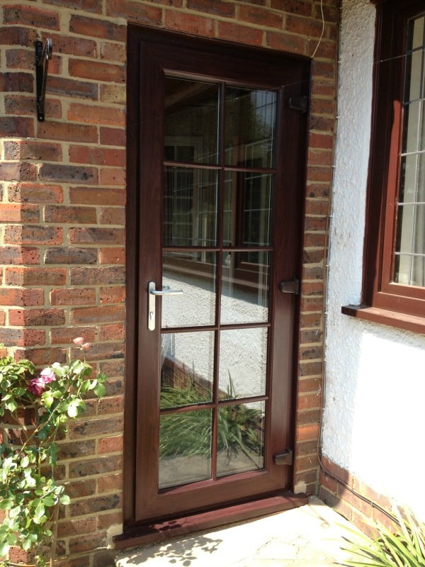 Rosewood out and white in Liniar profile door