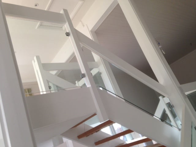 Toughened Glass Staircase Panels With Polished Edges In Horsham, Surrey